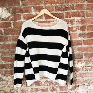 BDG Black & White Stripe Oversized Sweater